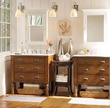 bathroom with medicine cabinet - Unique cool way to tie colors in white painted wood and stained wood