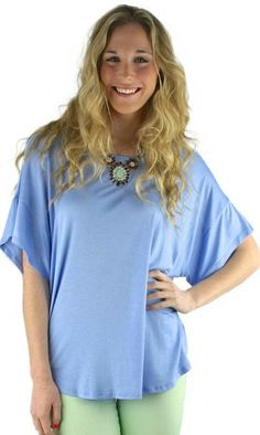 Short Sleeve Tunic Tee Shirt - Periwinkle Blue | .H.C.B.