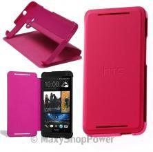 HTC CUSTODIA BOOK COVER SMART DOUBLE DIP FLIP CASE HC V841 ORIGINALE ONE M7 ROSA PINK NEW NUOVA - SU WWW-MAXYSHOPPOWER.COM