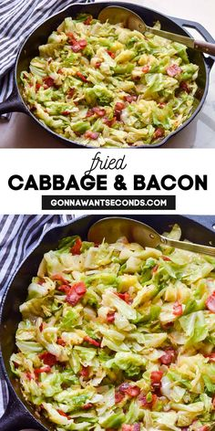 *NEW* Get your greens the Southern way with my Fried Cabbage and Bacon recipe! Perfectly cooked cabbage & sizzled bacon make a veggie side your family will love. #FriedCabbage #Bacon #SideDishes #SouthernRecipe #SouthernFood Cabbage And Bacon, Cooked Cabbage, Fried Cabbage, Best Side Dishes, Veggie Side Dishes, Vegetable Dishes, Dinner Recipes Easy Quick, Delicious Dinner Recipes, Easy Meals