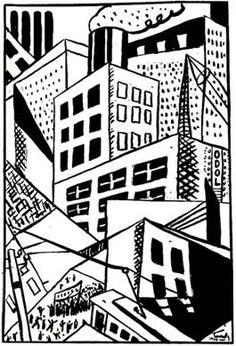 Fernando Leal, ilustración para Metrópolis (1929), de Maples Arce.  Humo, edificios prismáticos y elevados, tranvías, antenas, agitación obrera…: la urbe moderna condensada en una imagen. Mexican Art, Printmaking, Draw, History, Prints, Image, Journey, Wood, Statues