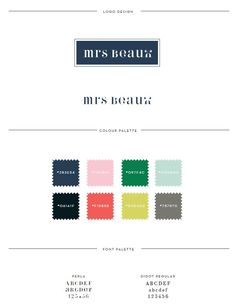 Mrs Beaux site style guide with color palette and typography. || style guide || brand board || identity