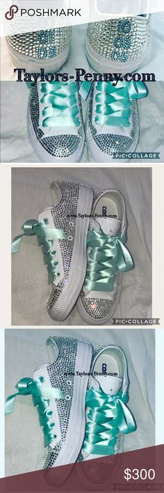 Bling Converse Embellished with Rhinestones.... Embellished low top Converse with thousands of crystals.... each order is shipped with a bag of crystals.... all are made to order. I can put dates, names, quotes you name it....in any colors... check out my other postings Converse Shoes Sneakers