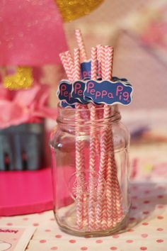 Peppa Pig Inspired Straws