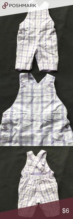 Baby Gap Newborn Purple Plaid Overalls Gently used Baby Gap Newborn (Stage 1 (up to 3 months)) purple plaid overalls.  Lightweight purple and white plaid.  Buttons at sides and straps.  Straps have two positions for easy adjusting.  Snaps at the bottom.  Absolutely adorable! Baby Gap Bottoms Overalls