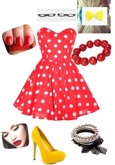 """""""Minnie Mouse"""" by kkpeace ❤ liked on Polyvore"""