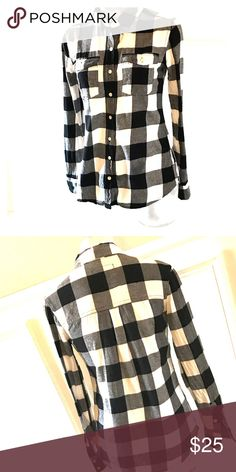 9677fc243 Black & White Flannel Shirt Excellent Used Condition, not J. Crew J. Crew  Tops Button Down Shirts
