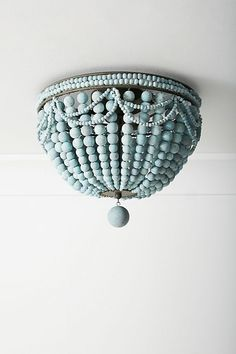 Malibu Flush Mount by Anthropologie in Blue, Lighting Beaded Chandelier, Chandeliers, Deco Boheme, Electrical Outlets, Flush Mount Lighting, Lamp Shades, Wooden Beads, Light Fixtures, Decoration