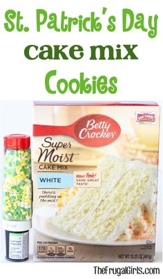 St Patrick's Day Cake Mix Cookie Recipe! ~ from TheFrugalGirls.com ~ just a few ingredients and you can whip up some super cute green cookies to add to your St Patricks Day menu!