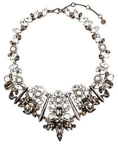 Givenchy Necklace, Hematite-Tone Glass Pearl Stone Statement Collar Necklace