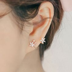 Sweet Lady Arc Hook Flower Silver Earring Studs