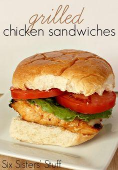 Marinated Grilled chicken sandwiches
