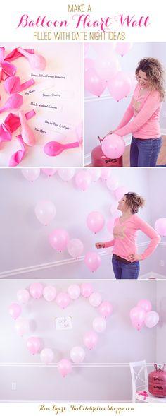 Valentine's Day Ideas – Heart Balloon Wall & Date Night Game Ideas | @kimbyers TheCelebrationShoppe.com