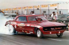 "Dick Harrell ""Mr. Chevrolet"" Camaro Funny Car burnout."