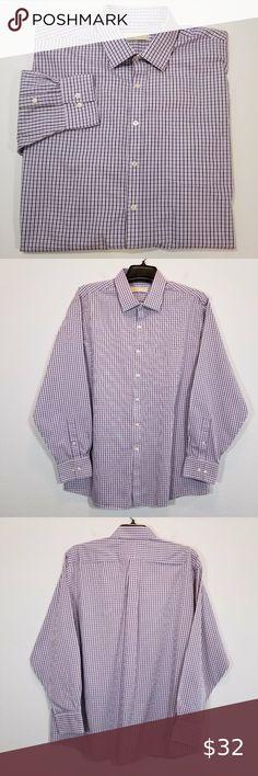 Geoffrey Beene Purple Plaid French Cuff Contrast Collar Cotton Blend Dress Shirt