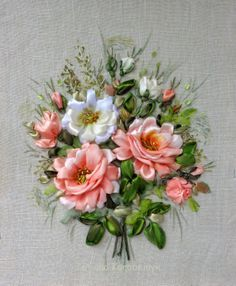 Rose picture made of Silk ribbon by SilkRibbonembroidery on Etsy, €60.00