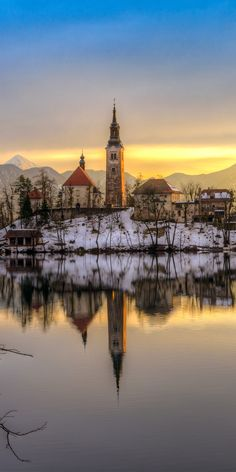 Bled with lake in winter, Slovenia