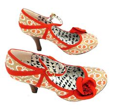 The funky Ruby Shoo Erin is a fab #retro geometric bar shoe in burnt orange tones that looks amazing with many of our #vintage style dresses! With 80s appeal, these Erin sh... #clothing #shoes #women