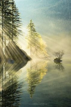 ~~Indulgence of Beauty |  crepuscular rays shine on an alpine lake, Berchtesgaden, German Bavarian Alps, by Stefan Hefele~~