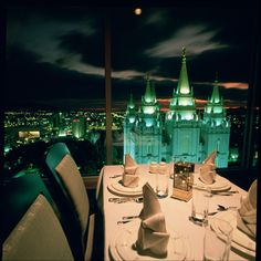 Beautiful night view from The Roof Restaurant. Make a reservation and dine with this spectacular sight. #dining #TempleSquare #slcrestaurants www.RoofMenu.com