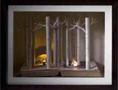 """Little Red Riding Hood"" Su Blackwell.  2010 book cut sculpture"