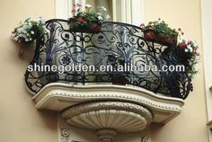 Wrought Iron Balcony, Wrought Iron Balcony direct from Xiamen Ouya Industry And Trade Co. in China (Mainland) Iron Balcony, Outdoor Balcony, Balcony Railing, Stair Railing, Balcony Window, Iron Railings, Bedroom Balcony, Balcony Ideas, Balcon Juliette