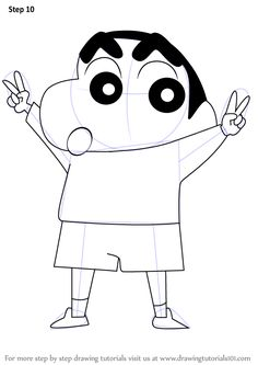 Learn How to Draw Shin Chan (Shin Chan) Step by Step : Drawing Tutorials Doremon Cartoon, Animated Cartoon Movies, Cute Cartoon Drawings, Girly Drawings, Cool Art Drawings, Doodle Art Drawing, Poster Drawing, Learn Drawing, Drawing Sketches