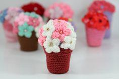 White Pink Crocheted Flower Pot  Mother's Day Crochet Pot Flowers on Etsy, $28.00