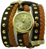 Geneva Platinum 12961812 Designer Inspired Braided Leather Wrap Watch-BROWN $34.99