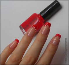 27. Red nails (Unghii rosii) + sabloane french ~ Sun after Storm