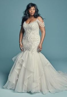 BRINKLEY LYNETTE by Maggie Sottero Wedding Dresses Maggie Sottero – BRINKLEY LYNETTE, Glamorous and vintage-inspired, this mermaid wedding dress ofor plus size bride See more gorgeous wedding dresses by clicking on the photo Mermaid Dresses, Bridal Dresses, Maxi Dresses, Plus Size Wedding Gowns, Maggie Sottero Wedding Dresses, Curvy Bride, Gorgeous Wedding Dress, Lace Wedding, Dress Wedding