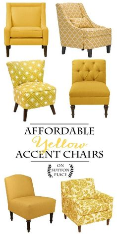 Affordable Yellow Accent Chair Shopping Guide | Sylish decor doesn't have to be expensive! Includes slipper chairs, arm chairs and more.