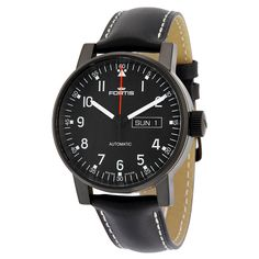 Fortis Spacematic Pilot Black Dial Black Leather Men's Watch 6231871L01 - Watches - Jomashop