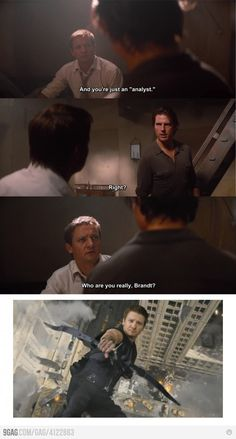 Mission Impossible: Ghost Protocol/The Avengers. Bahahaha! This is EXACTLY what I thought when I saw it! XD