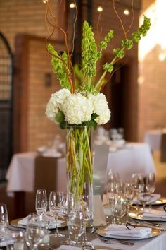White Hydrangea & Bells of Ireland/ www.callaraesfloralevents.com