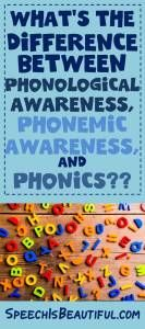 How many times have you heard teachers talking about phonics and speech-language pathologists talking about phonemes — and both groups talking about phonological awareness? This has happened so frequently that sometimes they get muddied up in my brain. Here are the definitions and differences between the terms: 1.Phonological Awareness refers to the development of different …