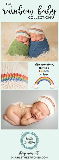 """A """"rainbow baby"""" is a baby that is born following a miscarriage, stillbirth, neonatal death or infant loss. In the real world, a beautiful and bright rainbow follows a storm and gives hope of things getting better. The rainbow is more appreciated having just experienced the storm in comparison. Our collection of Rainbow Baby Photo Props helps to celebrate those miracle babies. #rainbowbaby"""