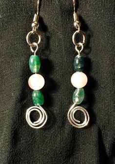 Moss Agate and Rose Quartz Earrings by BoomChakraLaka on Etsy