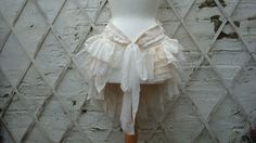 $79.00 Upcycled Bustle Ivory Cream White  Mori Girl Tattered Woman's Clothing Lace Tribal Cotton Lace  Layers
