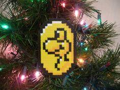 Super Mario World Yoshi Coin Perler Bead Christmas Ornament. $5.00, via Etsy.