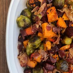 This Roasted Brussel Sprouts and Beets with Bacon dish is Paleo AND easy to make one-pan meal. Enjoy as the main dish or as a side dish. Roasted Bacon, Roasted Sprouts, Roasted Radishes, Sprouts With Bacon, Roasted Vegetables, Bacon Bacon, Veggies, Bacon Sweet Potato Recipe, Bacon Recipes