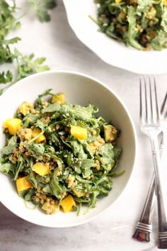 Mango, Wheat Berry, and Arugula Salad with Creamy Cilantro Lime Dressing | Hummusapien