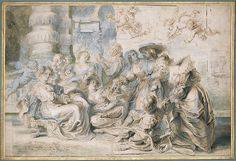 """Peter Paul Rubens (Flemish, 1577-1640). The Garden of Love (right portion), ca. 1633-35. Pen, brown ink, gray-green wash over traces of black chalk, touched with indigo, green, yellowish, and white paint on paper. The Metropolitan Museum of Art, New York. Fletcher Fund, 1958 (58.96.2)   This work is on view in gallery 690 from April 26, 2016 to May 2, 2016 as part of the Department of Drawings and Prints """"Work of the Week."""" #MetonPaper100"""
