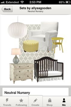 Neutral nursery with yellow and mix n' match  furniture