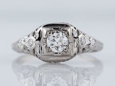 Antique Engagement Ring Art Deco .31ct Transitional Cut Diamond in 18k White Gold -FILIGREE JEWELERS MINNEAPOLIS