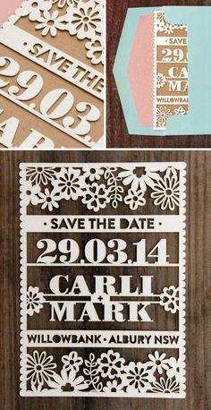 Creative wedding invitations: Cute Laser Cut Save The Date