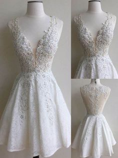 Ivory Prom Dress,Lace Appliques Homecoming Dress,V Neck Prom Dress,Backless Prom…