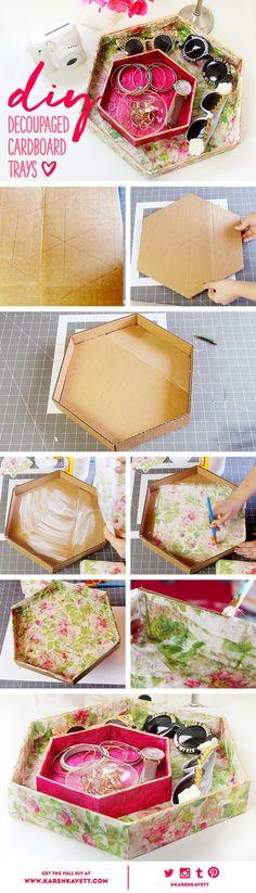 DIY Decoupage Cardboard Trays | Karen Kavett: