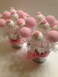 Ideas For Bridal Shower Cake Pops Cakepops Cake Pop Bouquet, Flower Cake Pops, Pink Cake Pops, Baby Cake Pops, Cookie Bouquet, Deco Baby Shower, Baby Shower Cake Pops, Bridal Shower, Wedding Cookies