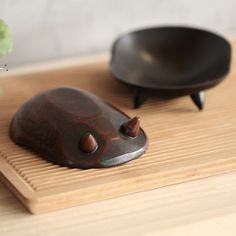 Handmade Tortoise Shell Wooden Dish 2 PC Set